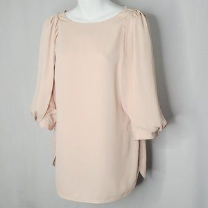 NWOT Chico's Black Label Pleated Sleeve Blouse